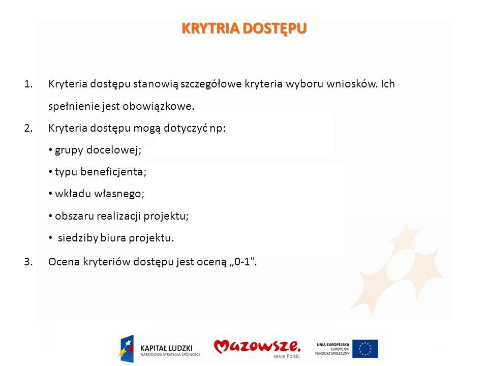 1.Kryteria dostępu stanowią szczegółowe kryteria wyboru wniosków.