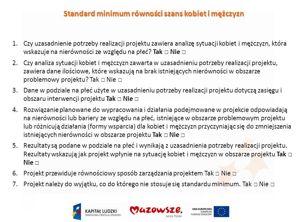 Standard minimum równości szans kobiet i mężczyzn 1.Czy uzasadnienie potrzeby realizacji projektu zawiera analizę sytuacji kobiet i mężczyzn, która wskazuje na nierówności ze względu na płeć.