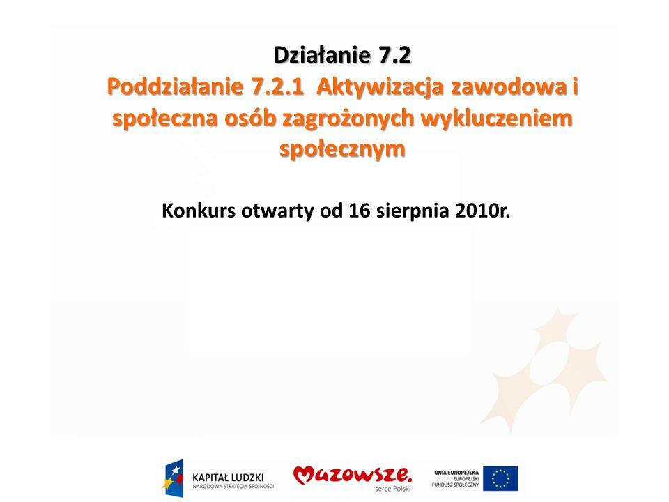 Działanie 7.2 Poddziałanie 7.2.1 Aktywizacja zawodowa i społeczna osób zagrożonych wykluczeniem społecznym Konkurs otwarty od 16 sierpnia 2010r.