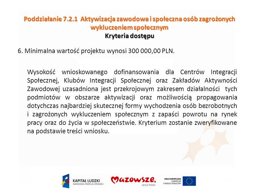 Poddziałanie 7.2.1 Aktywizacja zawodowa i społeczna osób zagrożonych wykluczeniem społecznym Kryteria dostępu 6.