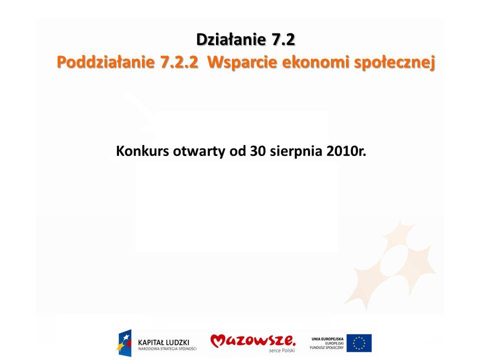 Działanie 7.2 Poddziałanie 7.2.2 Wsparcie ekonomi społecznej Konkurs otwarty od 30 sierpnia 2010r.
