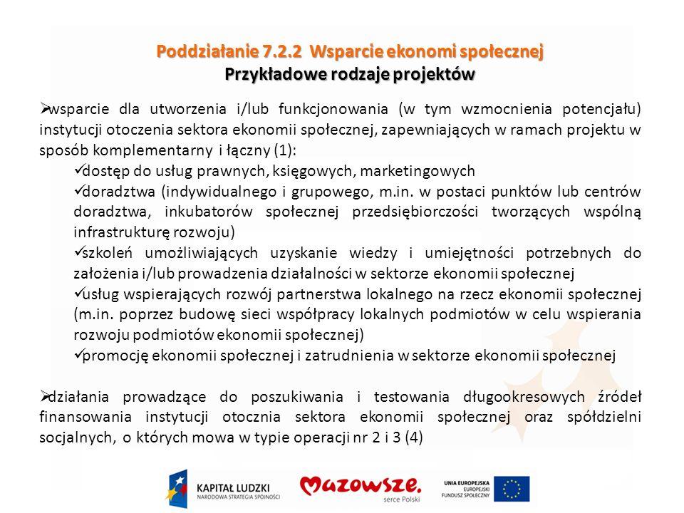 Poddziałanie 7.2.2 Wsparcie ekonomi społecznej Przykładowe rodzaje projektów wsparcie dla utworzenia i/lub funkcjonowania (w tym wzmocnienia potencjału) instytucji otoczenia sektora ekonomii społecznej, zapewniających w ramach projektu w sposób komplementarny i łączny (1): dostęp do usług prawnych, księgowych, marketingowych doradztwa (indywidualnego i grupowego, m.in.