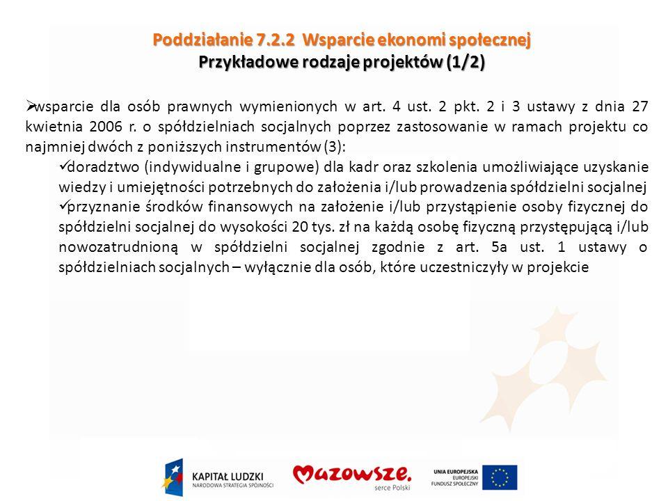 Poddziałanie 7.2.2 Wsparcie ekonomi społecznej Przykładowe rodzaje projektów (1/2) wsparcie dla osób prawnych wymienionych w art.