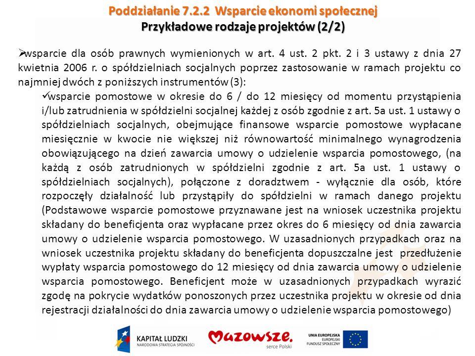 Poddziałanie 7.2.2 Wsparcie ekonomi społecznej Przykładowe rodzaje projektów (2/2) wsparcie dla osób prawnych wymienionych w art.