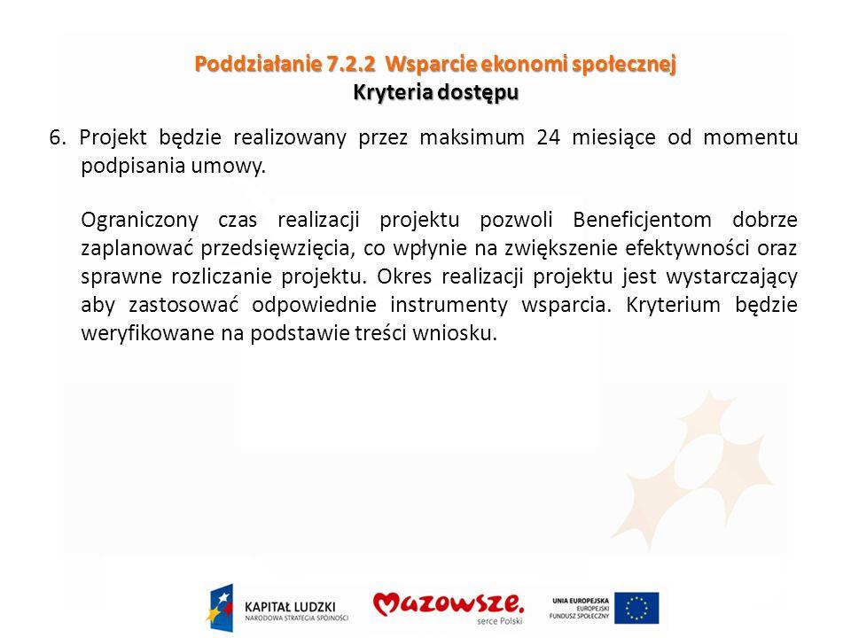 Poddziałanie 7.2.2 Wsparcie ekonomi społecznej Kryteria dostępu 6.