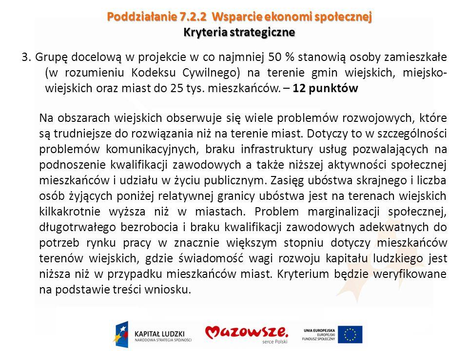 Poddziałanie 7.2.2 Wsparcie ekonomi społecznej Kryteria strategiczne 3.
