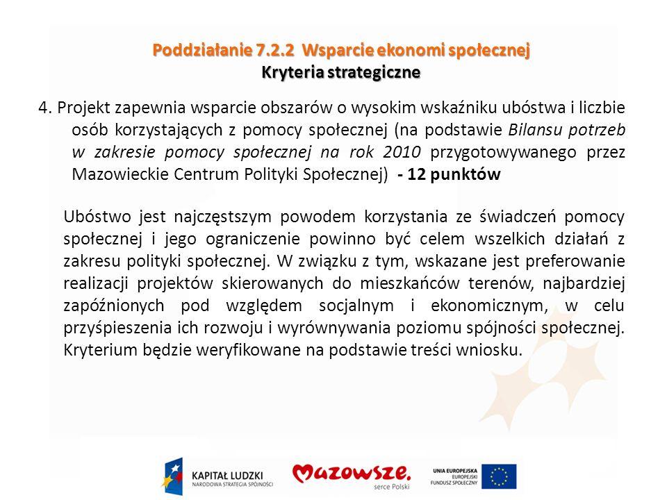 Poddziałanie 7.2.2 Wsparcie ekonomi społecznej Kryteria strategiczne 4.