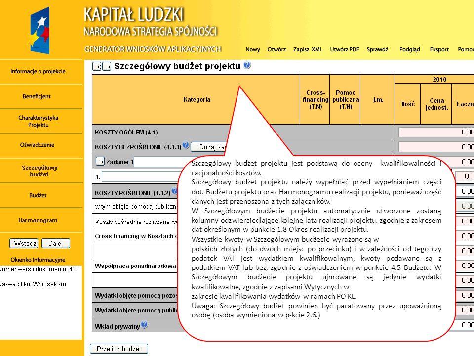 Szczegółowy budżet projektu jest podstawą do oceny kwalifikowalności i racjonalności kosztów.