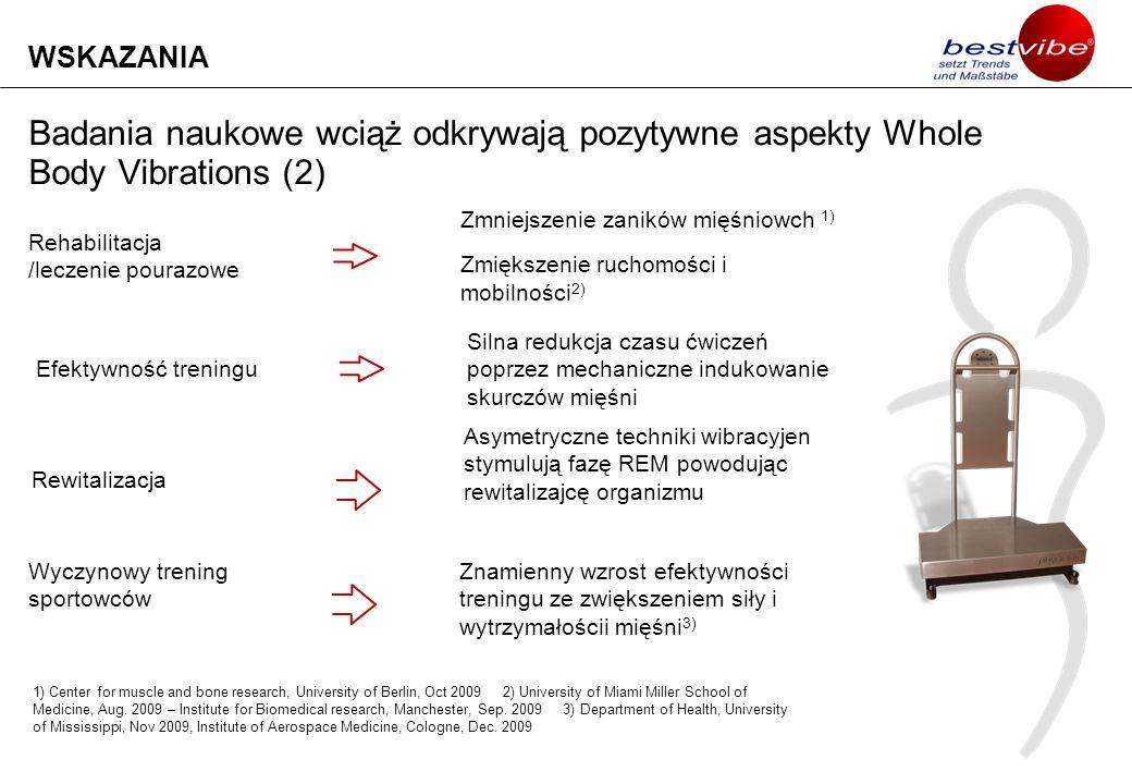 Badania naukowe wciąż odkrywają pozytywne aspekty Whole Body Vibrations (2) WSKAZANIA Rehabilitacja /leczenie pourazowe Zmniejszenie zaników mięśniowc