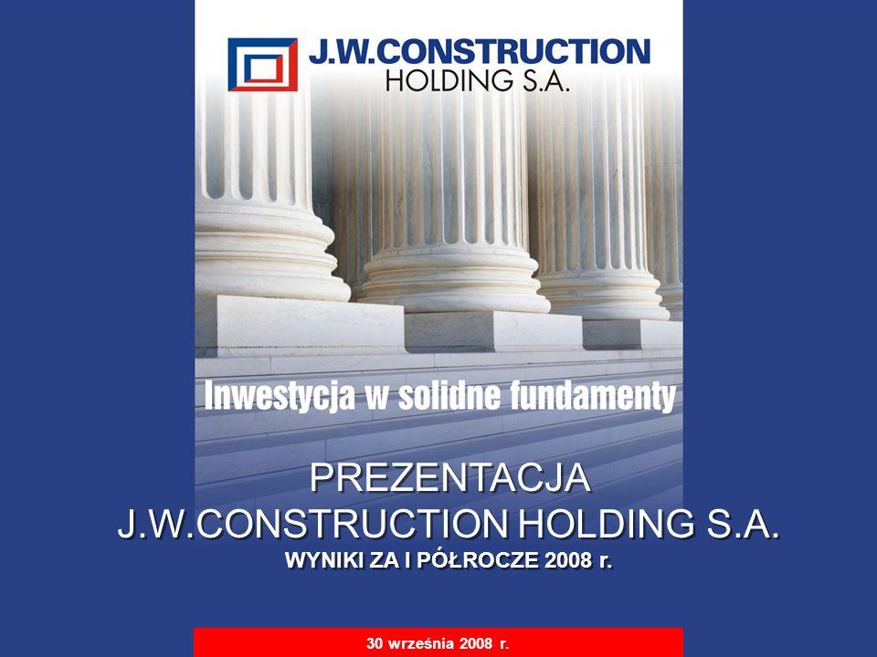 S t r i c t l y P r i v a t e & C o n f i d e n t i a l 1 30 września 2008 r. PREZENTACJA J.W.CONSTRUCTION HOLDING S.A. WYNIKI ZA I PÓŁROCZE 2008 r. P