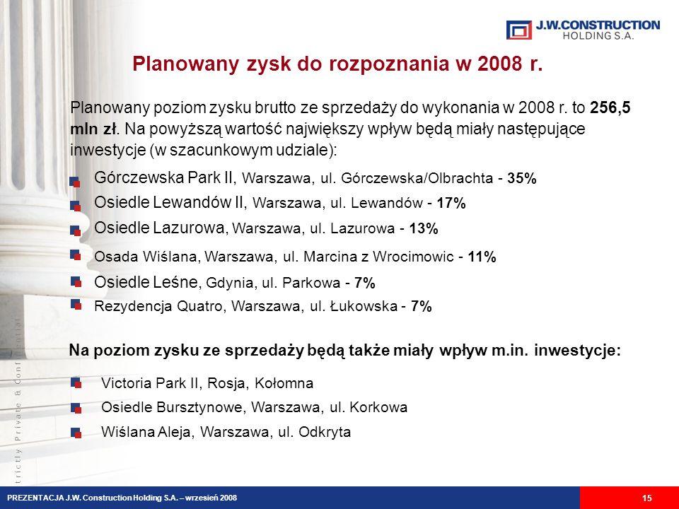 S t r i c t l y P r i v a t e & C o n f i d e n t i a l Planowany zysk do rozpoznania w 2008 r. 15 Górczewska Park II, Warszawa, ul. Górczewska/Olbrac