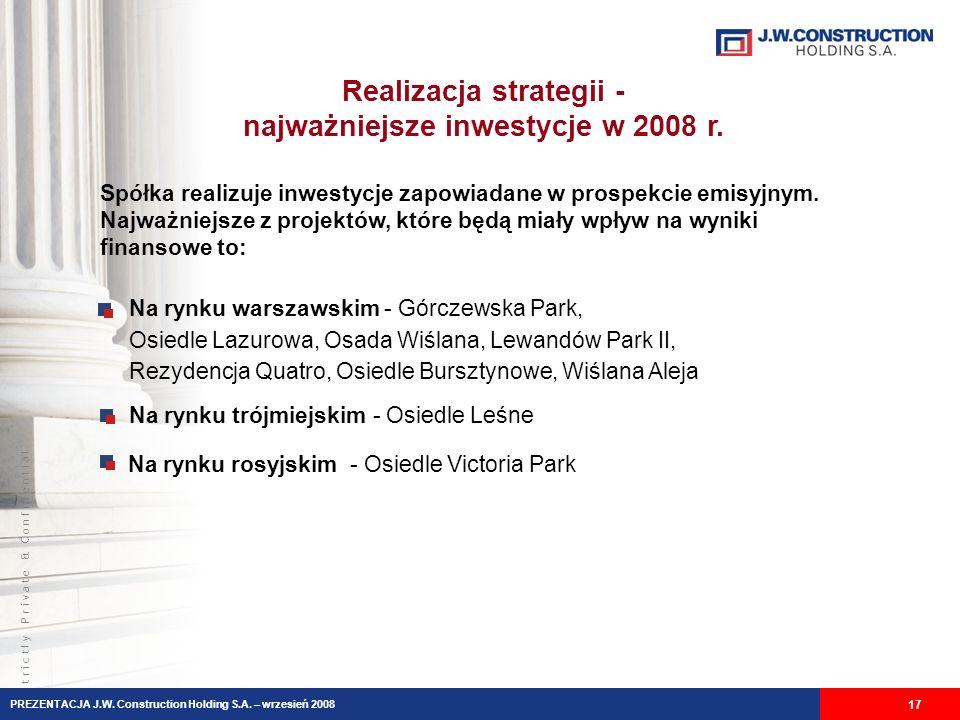 S t r i c t l y P r i v a t e & C o n f i d e n t i a l Realizacja strategii - najważniejsze inwestycje w 2008 r.