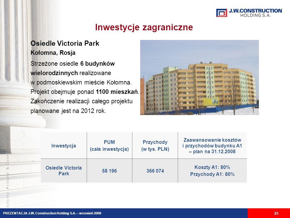S t r i c t l y P r i v a t e & C o n f i d e n t i a l Inwestycje zagraniczne 25 Osiedle Victoria Park Kołomna, Rosja Strzeżone osiedle 6 budynków wielorodzinnych realizowane w podmoskiewskim mieście Kołomna.