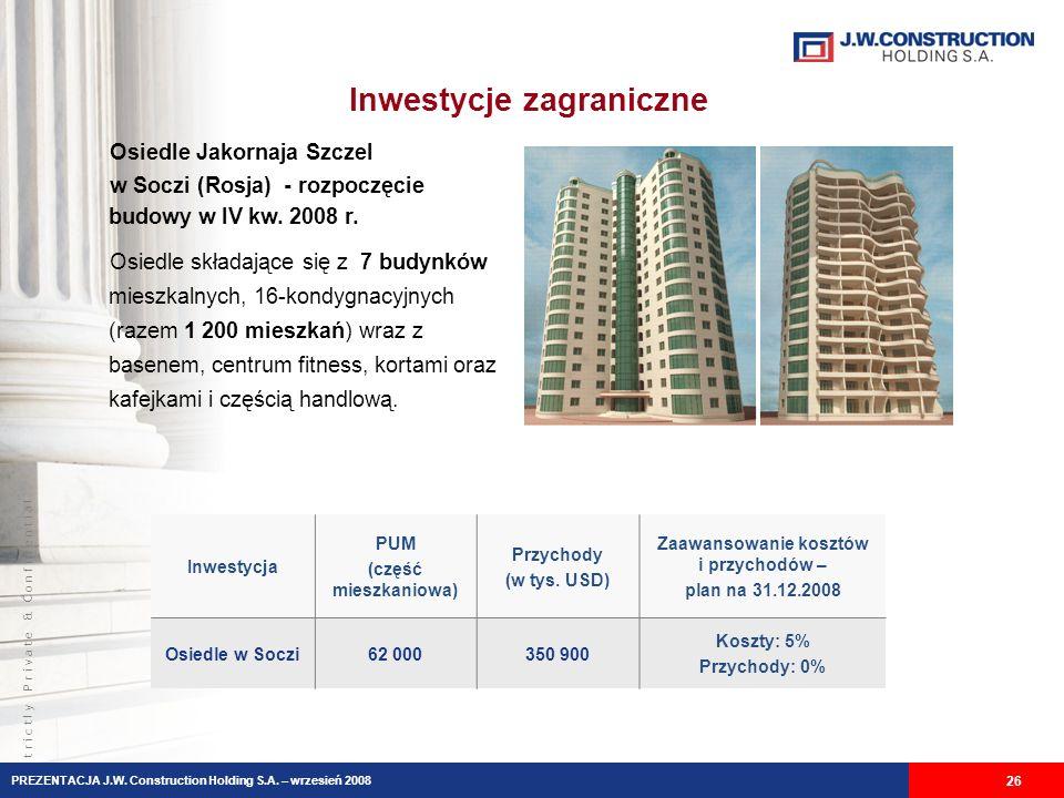 S t r i c t l y P r i v a t e & C o n f i d e n t i a l Inwestycje zagraniczne 26 Inwestycja PUM (część mieszkaniowa) Przychody (w tys. USD) Zaawansow