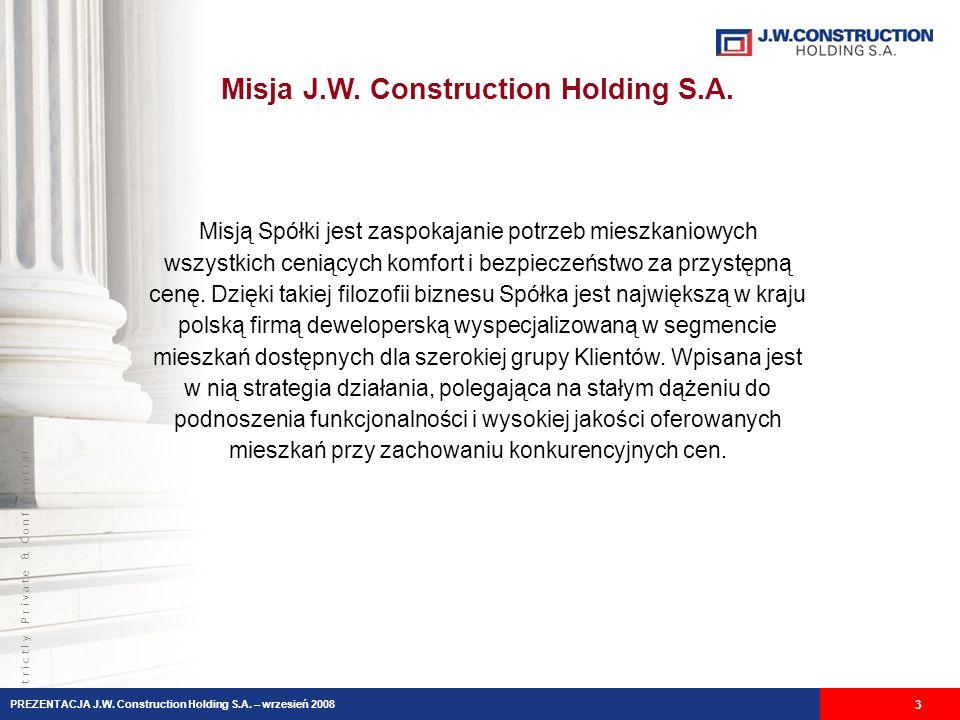 S t r i c t l y P r i v a t e & C o n f i d e n t i a l Misja J.W. Construction Holding S.A. 3 Misją Spółki jest zaspokajanie potrzeb mieszkaniowych w