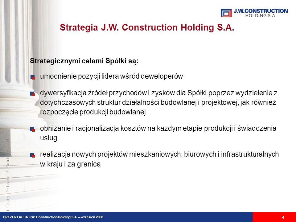 S t r i c t l y P r i v a t e & C o n f i d e n t i a l Strategia J.W. Construction Holding S.A. 4 umocnienie pozycji lidera wśród deweloperów dywersy
