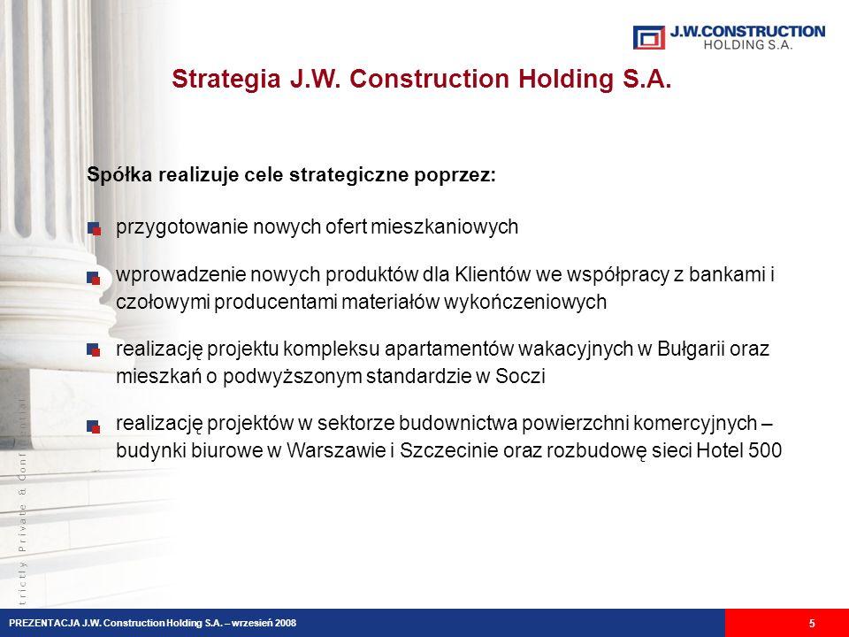 S t r i c t l y P r i v a t e & C o n f i d e n t i a l Strategia J.W. Construction Holding S.A. 5 przygotowanie nowych ofert mieszkaniowych wprowadze