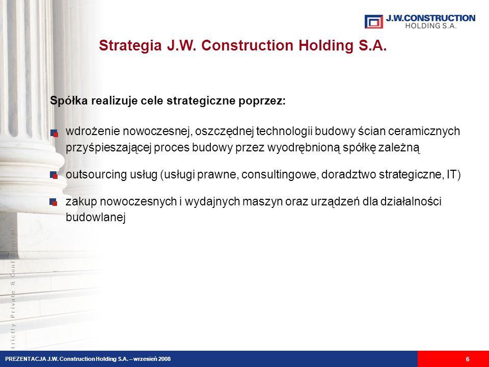 S t r i c t l y P r i v a t e & C o n f i d e n t i a l Strategia J.W. Construction Holding S.A. 6 wdrożenie nowoczesnej, oszczędnej technologii budow