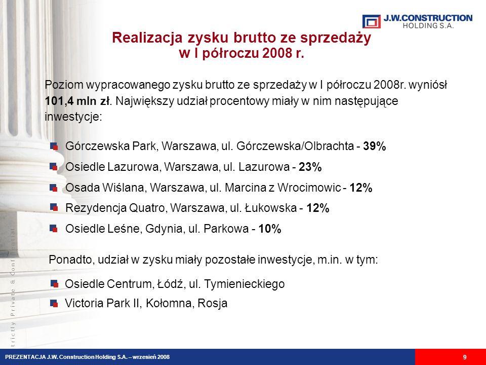 S t r i c t l y P r i v a t e & C o n f i d e n t i a l Realizacja zysku brutto ze sprzedaży w I półroczu 2008 r. 9 Górczewska Park, Warszawa, ul. Gór