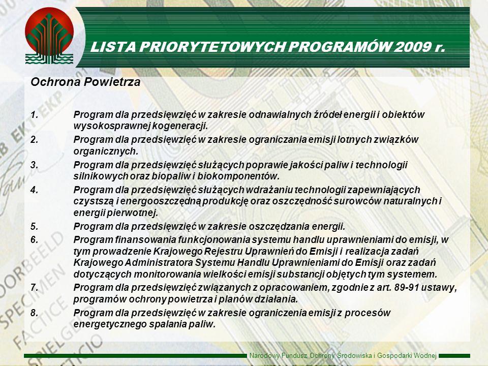 Narodowy Fundusz Ochrony Środowiska i Gospodarki Wodnej LISTA PRIORYTETOWYCH PROGRAMÓW 2009 r. Ochrona Powietrza 1.Program dla przedsięwzięć w zakresi