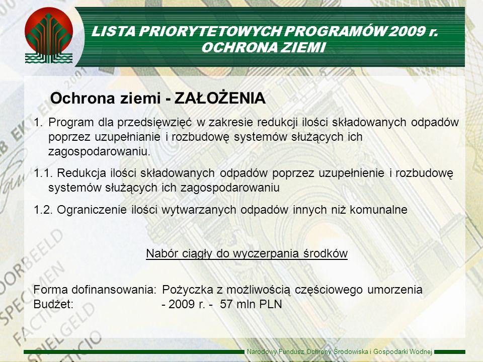 Narodowy Fundusz Ochrony Środowiska i Gospodarki Wodnej Ochrona ziemi - ZAŁOŻENIA 1. 1.Program dla przedsięwzięć w zakresie redukcji ilości składowany