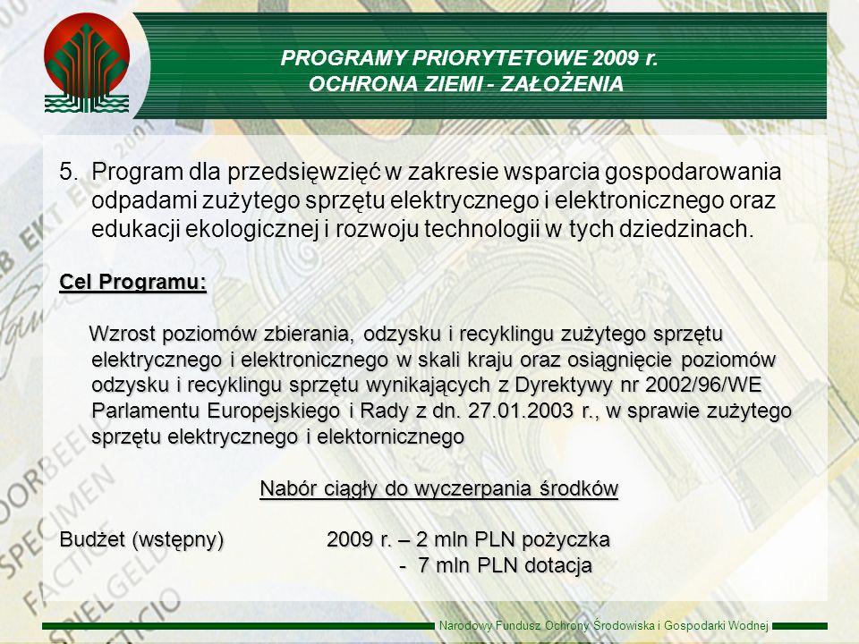 Narodowy Fundusz Ochrony Środowiska i Gospodarki Wodnej 5. 5.Program dla przedsięwzięć w zakresie wsparcia gospodarowania odpadami zużytego sprzętu el