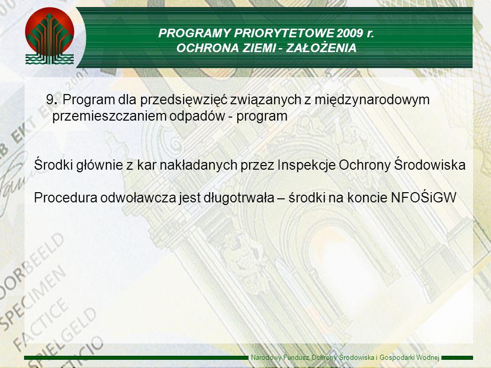 Narodowy Fundusz Ochrony Środowiska i Gospodarki Wodnej 9. Program dla przedsięwzięć związanych z międzynarodowym przemieszczaniem odpadów - program Ś