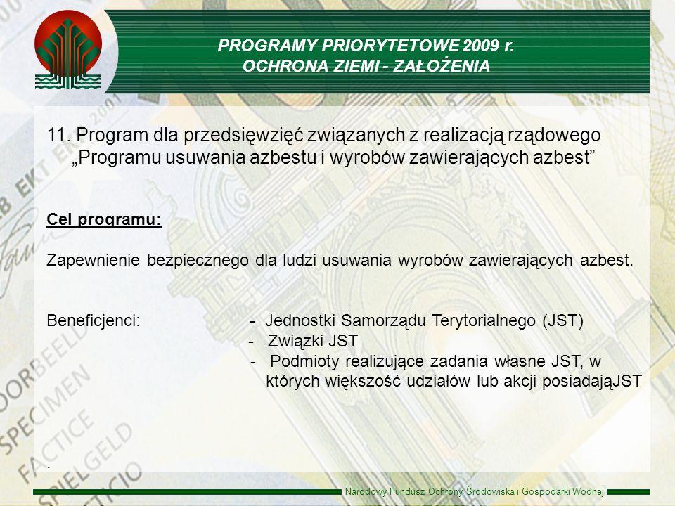 Narodowy Fundusz Ochrony Środowiska i Gospodarki Wodnej 11. Program dla przedsięwzięć związanych z realizacją rządowego Programu usuwania azbestu i wy