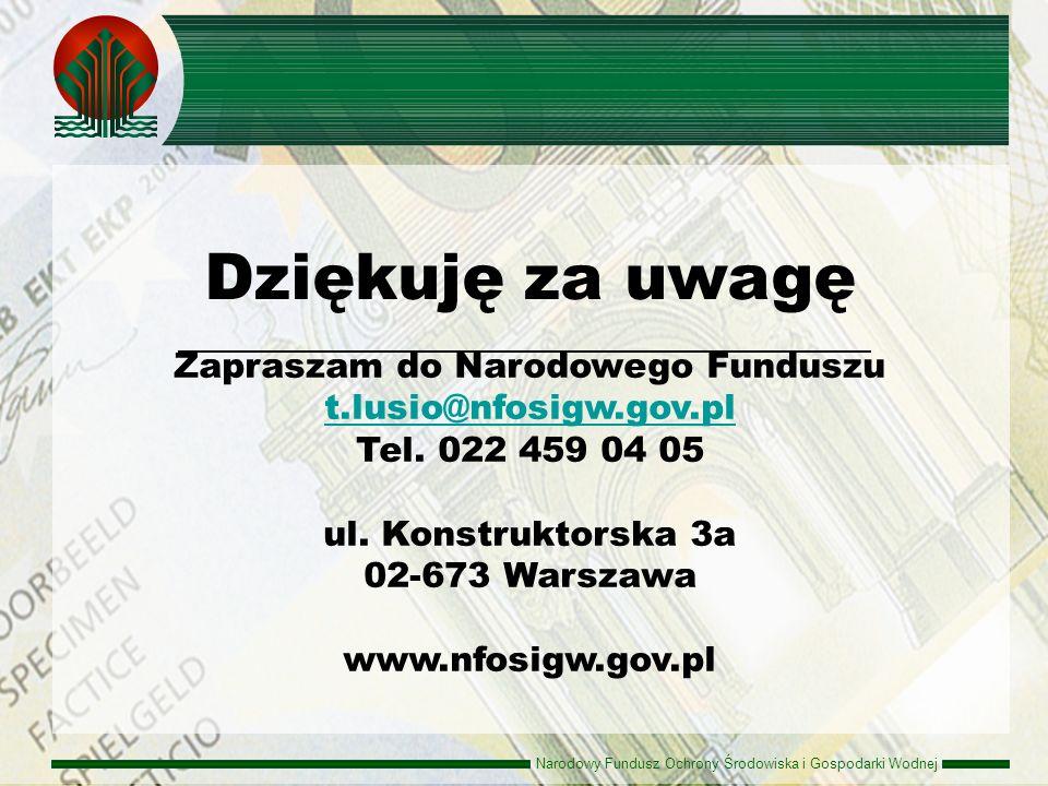 Narodowy Fundusz Ochrony Środowiska i Gospodarki Wodnej Zapraszam do Narodowego Funduszu t.lusio@nfosigw.gov.pl t.lusio@nfosigw.gov.pl Tel. 022 459 04