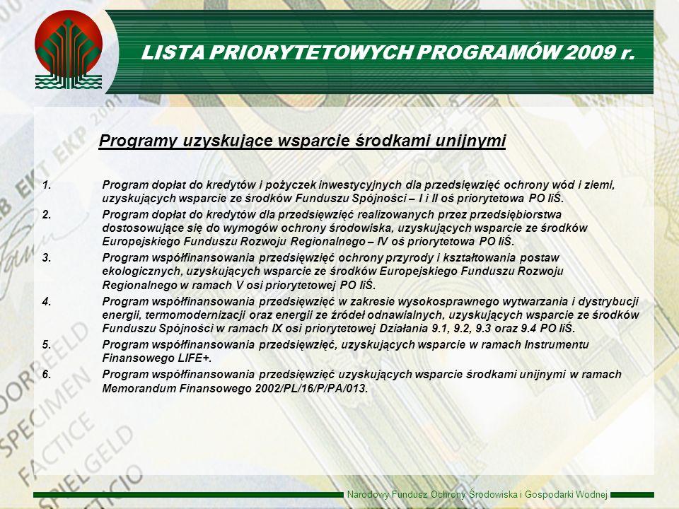 Narodowy Fundusz Ochrony Środowiska i Gospodarki Wodnej LISTA PRIORYTETOWYCH PROGRAMÓW 2009 r. Programy uzyskujące wsparcie środkami unijnymi 1.Progra