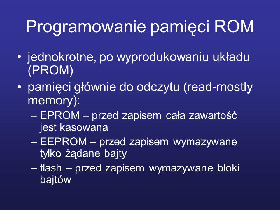 Programowanie pamięci ROM jednokrotne, po wyprodukowaniu układu (PROM) pamięci głównie do odczytu (read-mostly memory): –EPROM – przed zapisem cała za