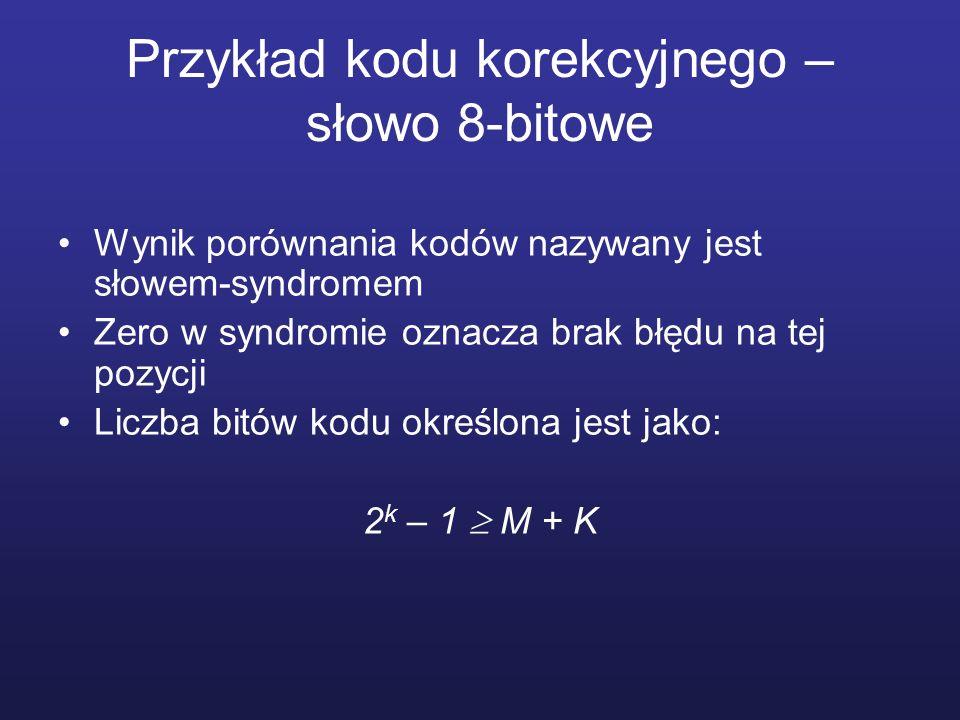 Przykład kodu korekcyjnego – słowo 8-bitowe Wynik porównania kodów nazywany jest słowem-syndromem Zero w syndromie oznacza brak błędu na tej pozycji L