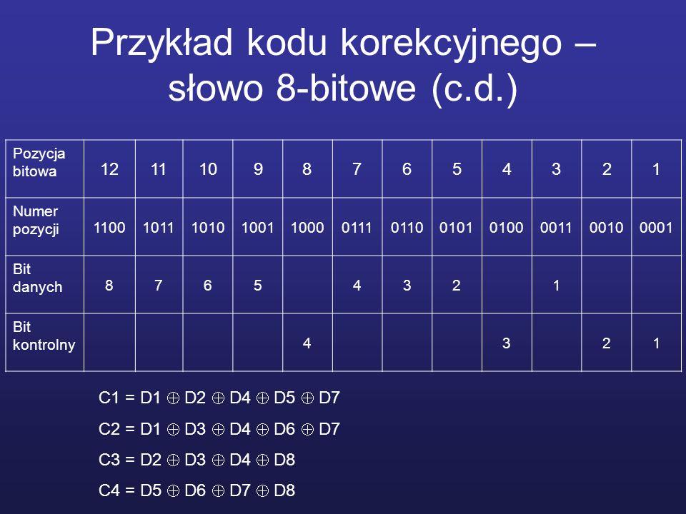Przykład kodu korekcyjnego – słowo 8-bitowe (c.d.) Pozycja bitowa 121110987654321 Numer pozycji 110010111010100110000111011001010100001100100001 Bit d