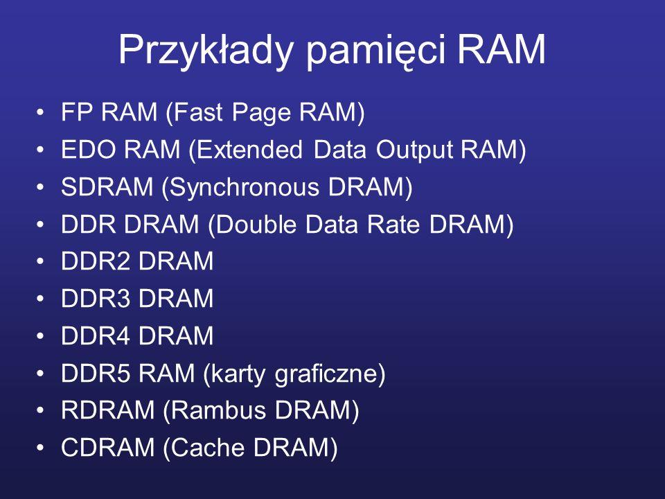 Przykłady pamięci RAM FP RAM (Fast Page RAM) EDO RAM (Extended Data Output RAM) SDRAM (Synchronous DRAM) DDR DRAM (Double Data Rate DRAM) DDR2 DRAM DD