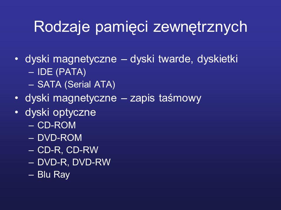 Rodzaje pamięci zewnętrznych dyski magnetyczne – dyski twarde, dyskietki –IDE (PATA) –SATA (Serial ATA) dyski magnetyczne – zapis taśmowy dyski optycz