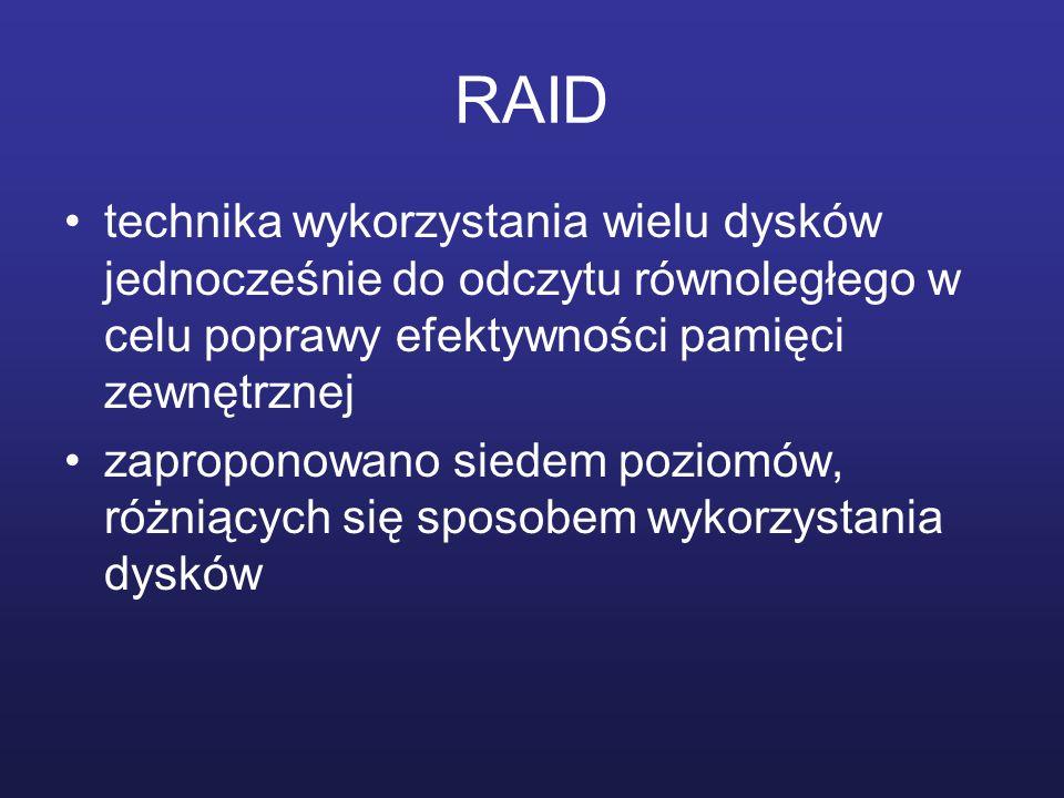 RAID technika wykorzystania wielu dysków jednocześnie do odczytu równoległego w celu poprawy efektywności pamięci zewnętrznej zaproponowano siedem poz