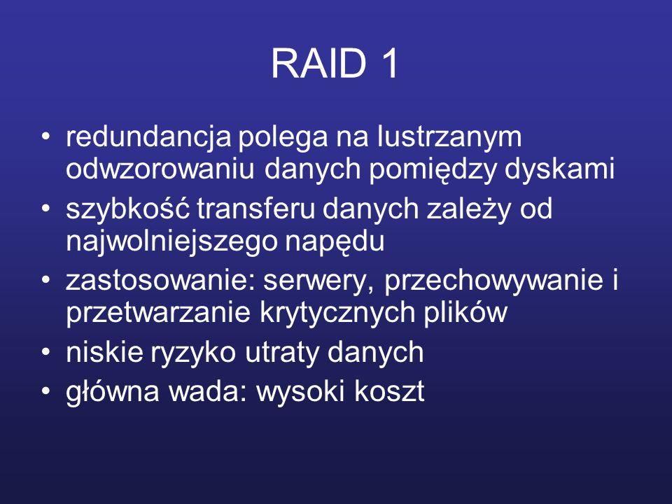RAID 1 redundancja polega na lustrzanym odwzorowaniu danych pomiędzy dyskami szybkość transferu danych zależy od najwolniejszego napędu zastosowanie: