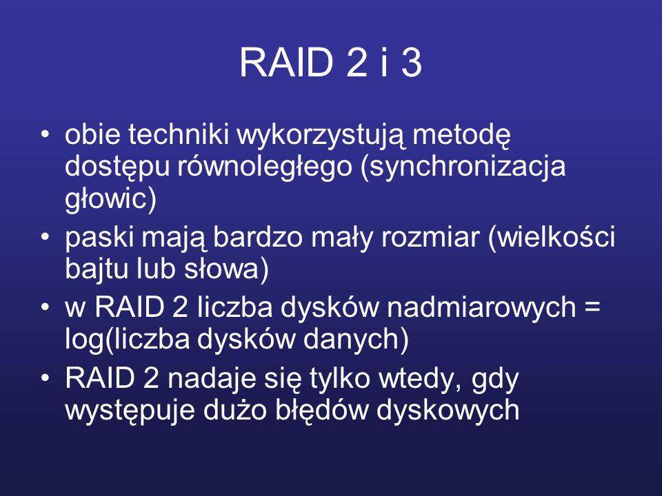 RAID 2 i 3 obie techniki wykorzystują metodę dostępu równoległego (synchronizacja głowic) paski mają bardzo mały rozmiar (wielkości bajtu lub słowa) w