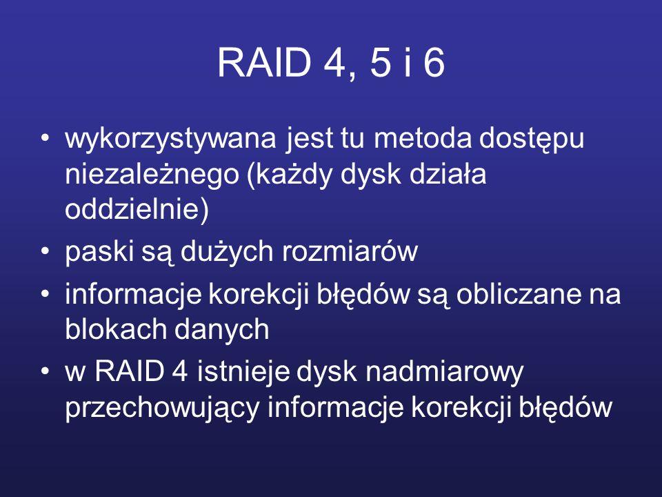 RAID 4, 5 i 6 wykorzystywana jest tu metoda dostępu niezależnego (każdy dysk działa oddzielnie) paski są dużych rozmiarów informacje korekcji błędów s
