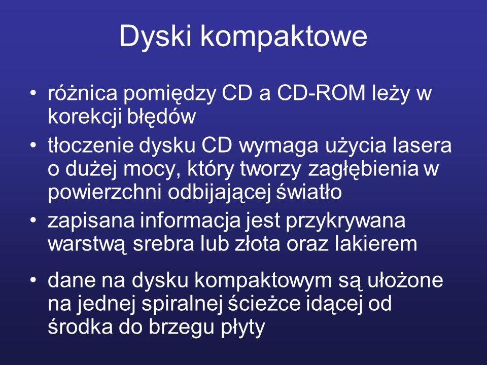 Dyski kompaktowe różnica pomiędzy CD a CD-ROM leży w korekcji błędów tłoczenie dysku CD wymaga użycia lasera o dużej mocy, który tworzy zagłębienia w