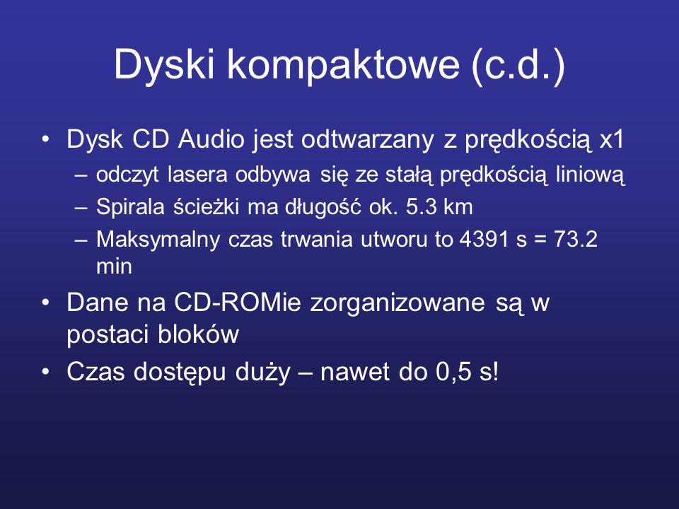 Dyski kompaktowe (c.d.) Dysk CD Audio jest odtwarzany z prędkością x1 –odczyt lasera odbywa się ze stałą prędkością liniową –Spirala ścieżki ma długoś