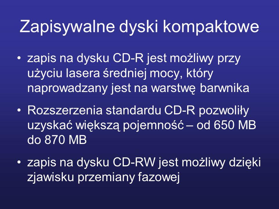 Zapisywalne dyski kompaktowe zapis na dysku CD-R jest możliwy przy użyciu lasera średniej mocy, który naprowadzany jest na warstwę barwnika Rozszerzen