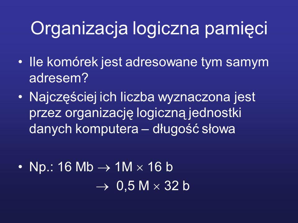 Organizacja logiczna pamięci Ile komórek jest adresowane tym samym adresem? Najczęściej ich liczba wyznaczona jest przez organizację logiczną jednostk