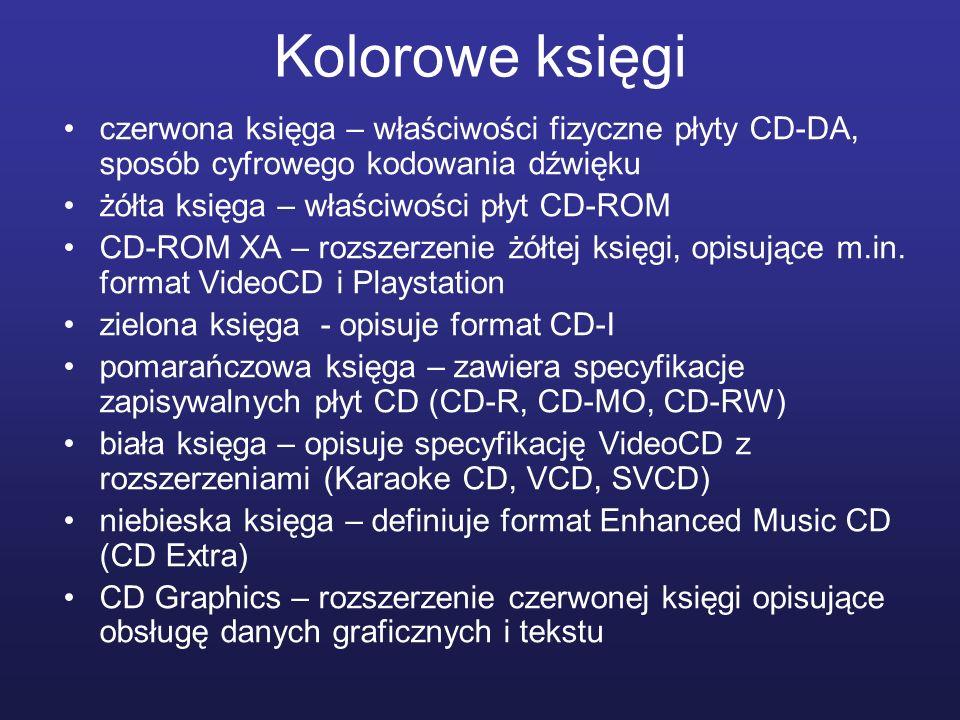 Kolorowe księgi czerwona księga – właściwości fizyczne płyty CD-DA, sposób cyfrowego kodowania dźwięku żółta księga – właściwości płyt CD-ROM CD-ROM X