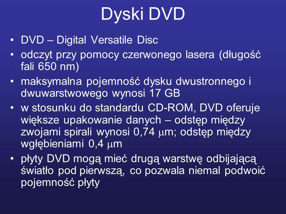 Dyski DVD DVD – Digital Versatile Disc odczyt przy pomocy czerwonego lasera (długość fali 650 nm) maksymalna pojemność dysku dwustronnego i dwuwarstwo