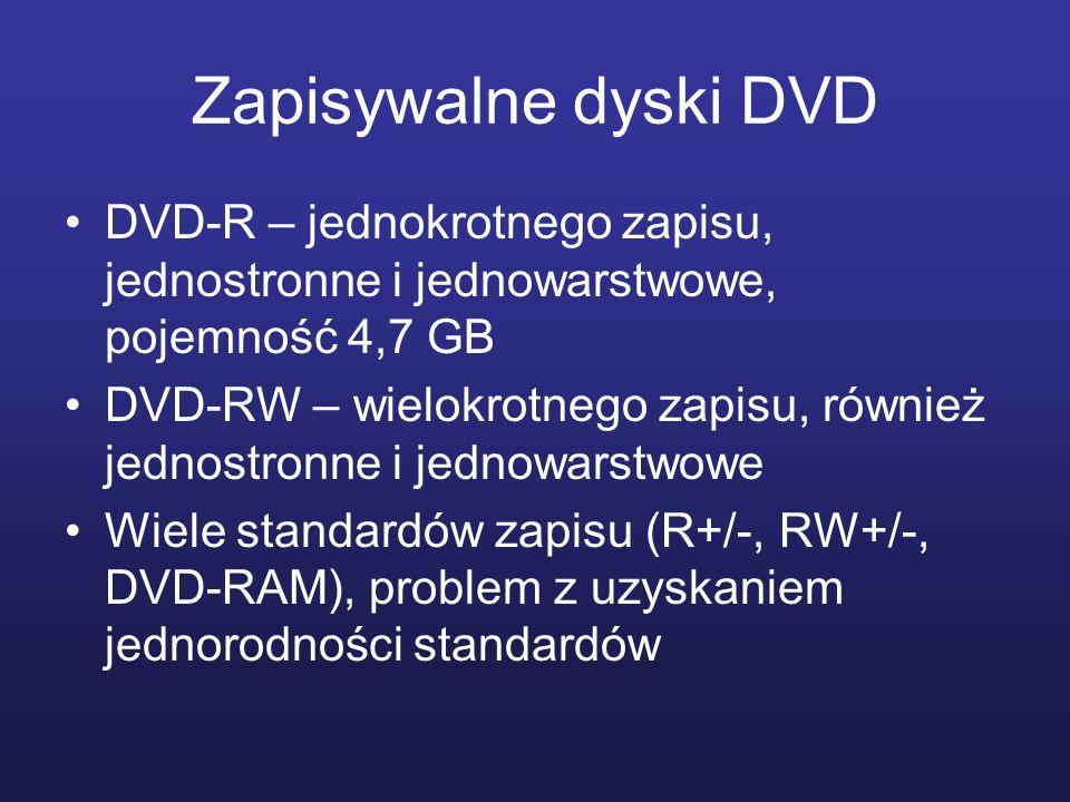 Zapisywalne dyski DVD DVD-R – jednokrotnego zapisu, jednostronne i jednowarstwowe, pojemność 4,7 GB DVD-RW – wielokrotnego zapisu, również jednostronn