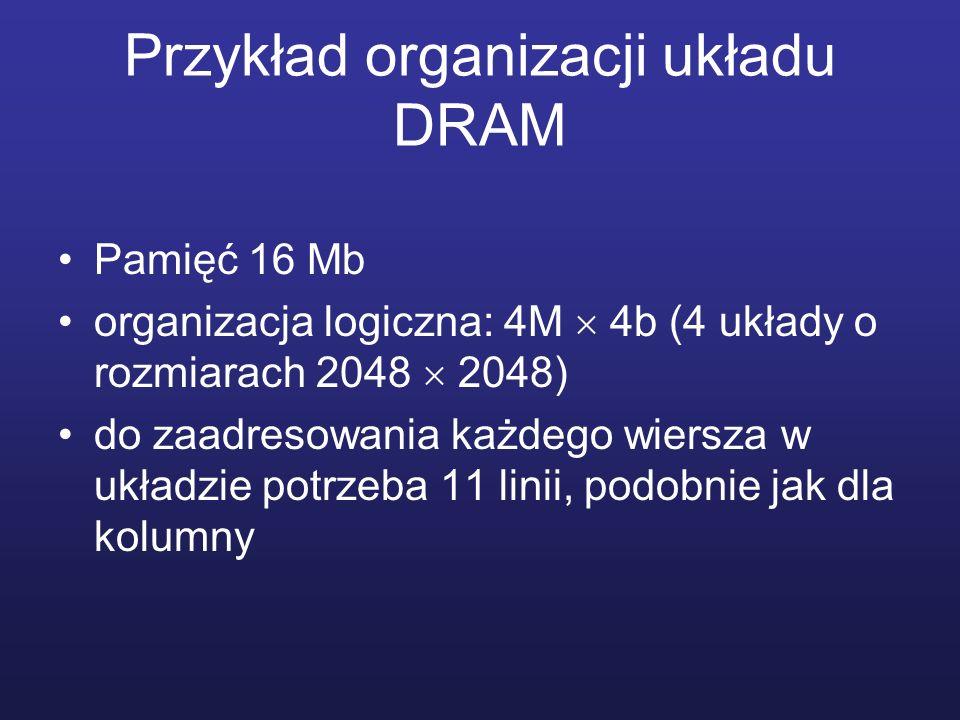 Przykład organizacji układu DRAM Pamięć 16 Mb organizacja logiczna: 4M 4b (4 układy o rozmiarach 2048 2048) do zaadresowania każdego wiersza w układzi