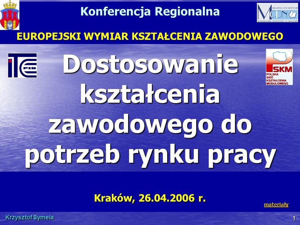 Krzysztof Symela 1 Dostosowanie kształcenia zawodowego do potrzeb rynku pracy Kraków, 26.04.2006 r. Konferencja Regionalna EUROPEJSKI WYMIAR KSZTAŁCEN
