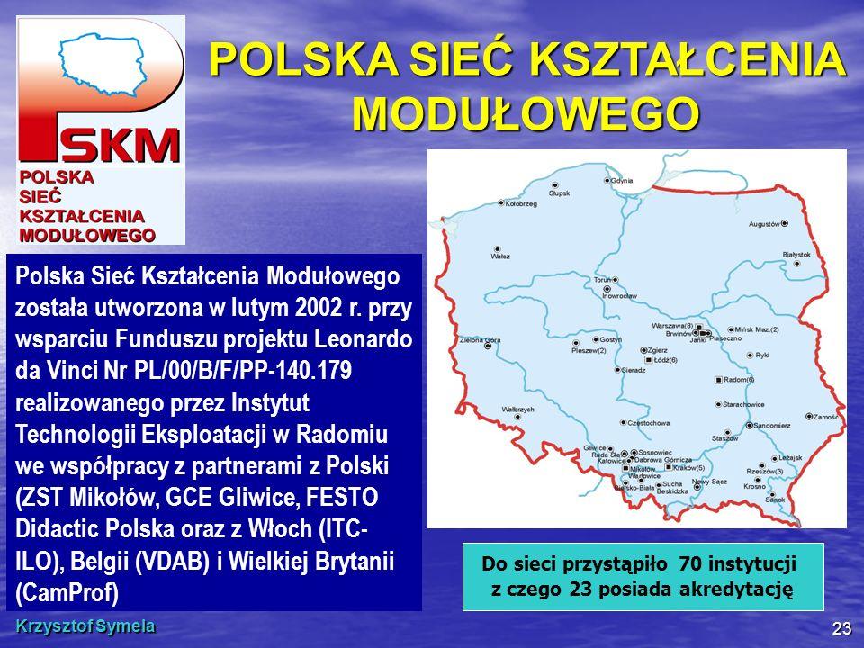 Krzysztof Symela 23 POLSKA SIEĆ KSZTAŁCENIA MODUŁOWEGO Polska Sieć Kształcenia Modułowego została utworzona w lutym 2002 r. przy wsparciu Funduszu pro