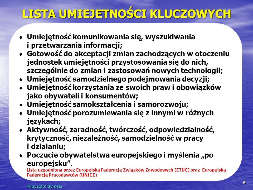 Krzysztof Symela 6 LISTA UMIEJETNOŚCI KLUCZOWYCH Umiejętność komunikowania się, wyszukiwania i przetwarzania informacji; Gotowość do akceptacji zmian